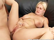 Blonde Babe sucking cock ...