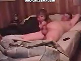 Busty girl does blowjob in homemade video