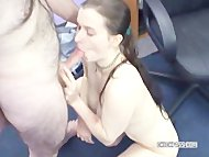 Brunette Kathy sucks some strangers stiff cock