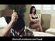 Juicy brunette model San Dimas loves hard roughsex
