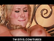 Gorgeous blonde bombshell plays with her glass dildo