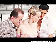 Blonde Teen With Pigtails Has a Doggystyle Threesome