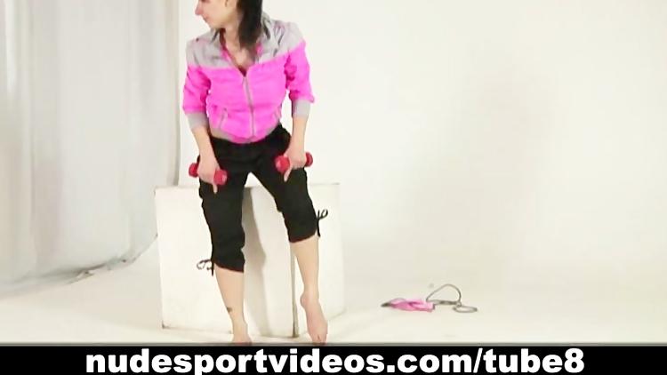 Skinny teen girl doing nude fitness