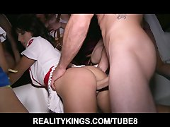 Group of slutty Halloween babes start an orgy in the club