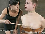 Alani Pi meets her fate with Elise Graves in a lesbian bondage scene