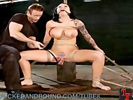 Big Titted Brunette Gets Bound