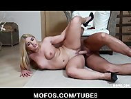Busty blonde Russian loves to get fucked wearing her heels