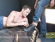 Masc hung bear sticks his foot in jocks hungry ass then pounds him