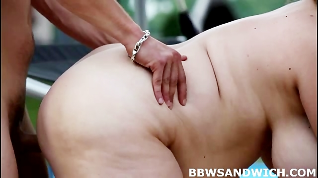 Threesome BBW orgy by the pool with 2 BBW dominatrices