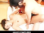 Naughty asian babe blind folded, fondled and hard banged
