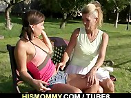 Old mom seduces and fucks her sons GF