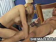 Busty Shemale Mel Voguel Sucking A Hard Muscle Cock