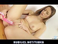Cute newcomer dildos puss...