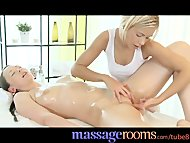 Massage Rooms Blonde teen masseuse given strong orgasm by lesbian client