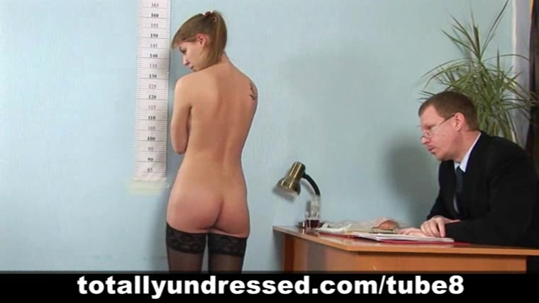 Nude job interview for shy secretary babe