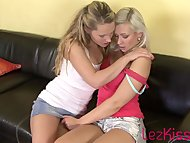Blonde teen getting her pussy licked by girlfriend