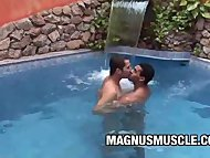 Sex In The Pool From Hawt Latino Poax Hoffin And Andre Dumont