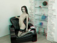 Perfect teen girl posing nude 3D backstage
