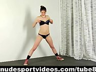 Sweet teen girl doing sports