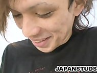 Stiff cock of japanese stud Shane Omura is getting some gentle stroking