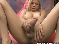 sexy shemale angel star tugging on her hard cock