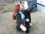 Redhead student sucks on the b