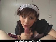 Horny Japanese Maid give the b