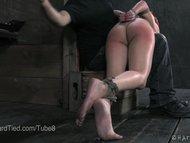 Slave Casey Calvert Spanked in Rope Bondage