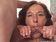 Naughty granny takes two young