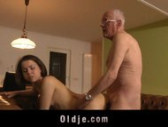 Horny girl sucking old dick