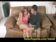 Stepmom watches daughter jerk