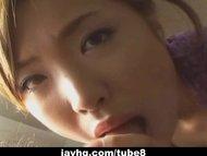 Japanese teen gives a hot blowjob uncensored