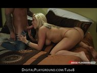 Tatted blonde slut Natalia Starr deepthroats and rides cowgirl