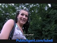 PublicAgent Fucking a tall brunette on public pathway