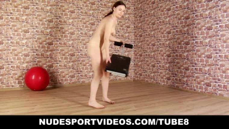 Nude teen girl exercises her sexy body