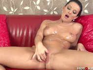 Oiled Up Nympho Squirts All Ov