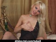 Hot blonde teen fucks dildo