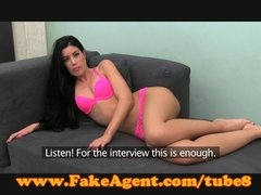 Office Babe Cumshot video: FakeAgent Brunette\'s pussy hungry for spunk