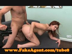 Pov Office Cumshot vid: FakeAgent Fire kissed amateur takes creampie in casting
