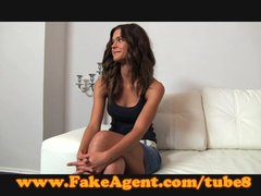 Blowjob Office Babe video: FakeAgent Shy brunette plays hard to get in casting