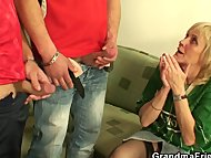 Blonde granny pleases two…