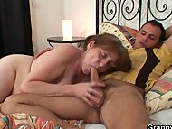 Grandma rides his hard meat