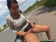 Nasty busty whore gets big cock oral zex in public