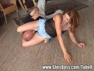 Mandy wrestles a guy her small shorts