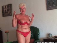 Chubby granny with saggy …