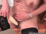 Granny in black stockings...