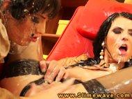 Eileen Sue with bukkake lesbia