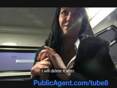 Cumshot Outdoors Reality video: PublicAgent Penelope fucks on the train to avoid the police