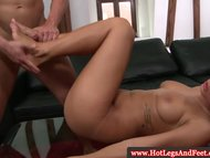 Victoria Blaze fingered after footjob