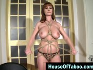 Watch big tits lingerie clad brunette slut getting tied up in hd